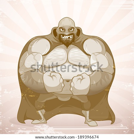 Powerful wrestler with a beard and in the mask. In grunge style - stock vector