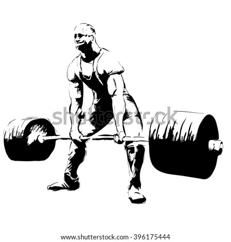powerlifter with barbell deadlift - stock vector