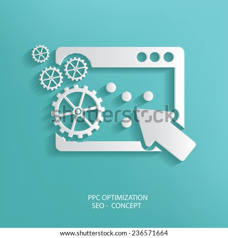 PPC Optimize symbol on blue background,clean vector - stock vector