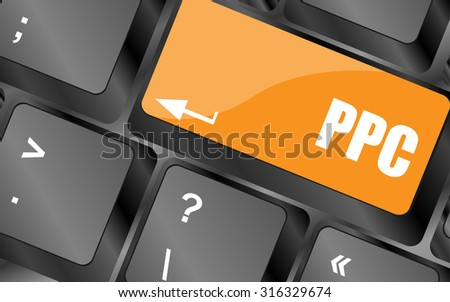 PPC (Pay Per Click) Concept. Button on Modern Computer Keyboard, vector illustration - stock vector