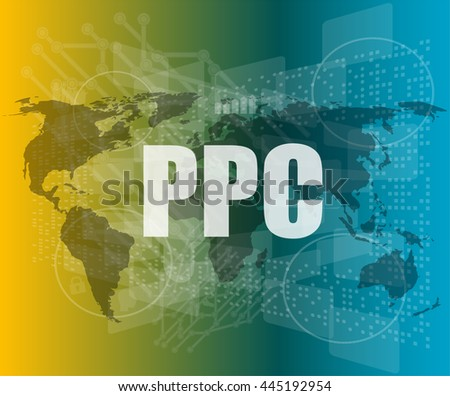 ppc words on digital touch screen interface - business concept vector quotation marks with thin line speech bubble. concept of citation, info, testimonials, notice, textbox. flat style - stock vector
