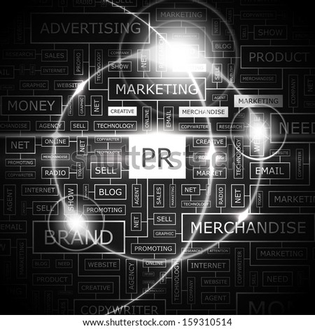 PR. Concept illustration. Graphic tag collection. Wordcloud collage. Vector illustration.  - stock vector