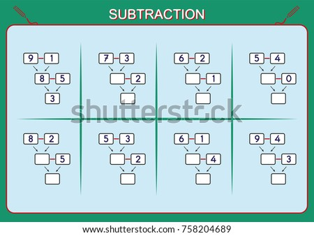 Practice Your Subtraction 0 10 Math Stock Vector 758204689 ...