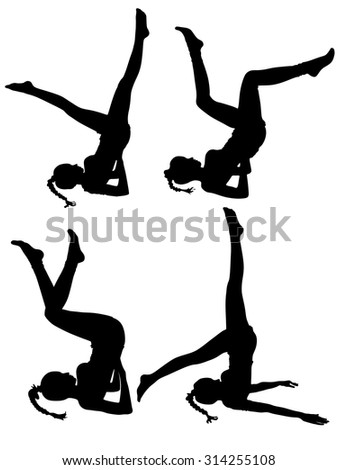 Practicing Yoga exercises - stock vector
