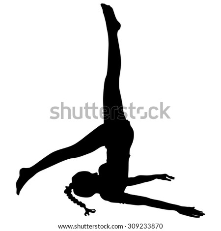 Practicing Yoga exercises. Young woman doing Yoga exercises, Pose name: Shoulderstand - Sarvangasana - Viparita Karani  - stock vector