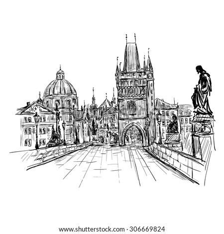 Prague, Charles Bridge, Czech Republic. Vector sketch - stock vector
