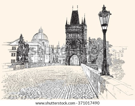 Prague, Charles Bridge, hand drawing, vector illustration. - stock vector