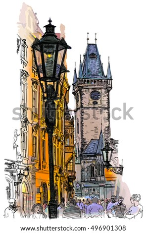 Prague, Czech Republic - a vector color illustration