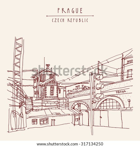 Prague, Czech republic, Europe. Vector hand drawn artistic illustration of old industrial buildings near bus station. Steam punk postcard template. Grungy drawing industrial greeting card design - stock vector