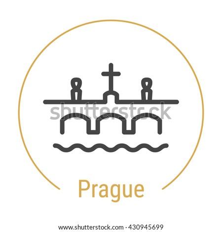 Prague Czech Republic Outline Icon Caption Stock Vector Royalty