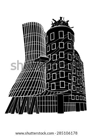 Prague Dancing House Silhuette - stock vector