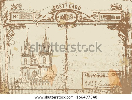 prague, postcard, old paper  - stock vector