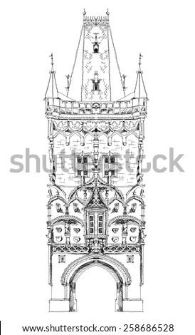 Prague tower, sketch collection - stock vector