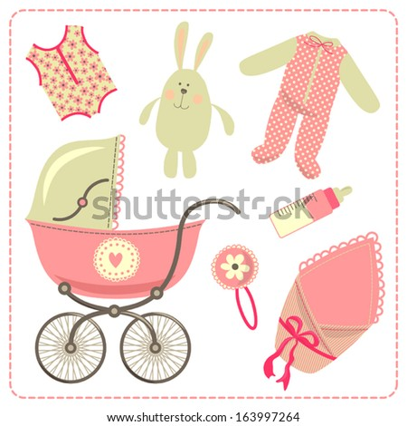 Pram and accessories for baby. - stock vector