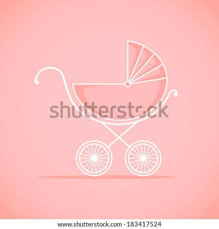 Pram for baby.  Vector illustration. Background - stock vector