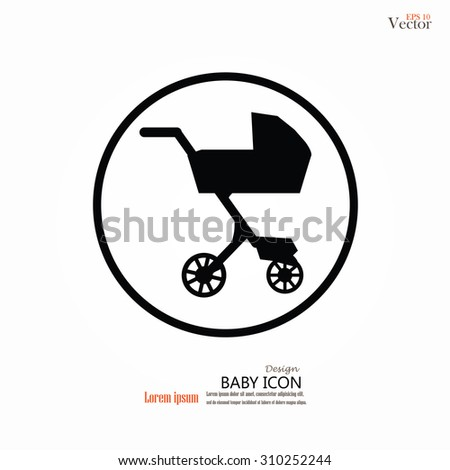 Pram icon. baby carriage, baby cart. vector illustration. - stock vector