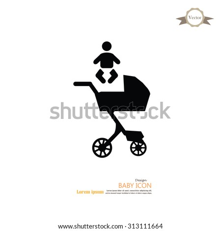 pram.pram with infant icon.baby carriage.baby cart.vector illustration. - stock vector