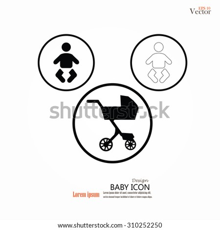 Pram with infant icon. Baby carriage, baby cart. vector illustration. - stock vector