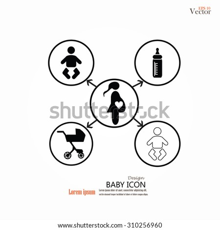 Pram with infant, mom and milk bottle icon. baby carriage, baby cart. vector illustration. - stock vector