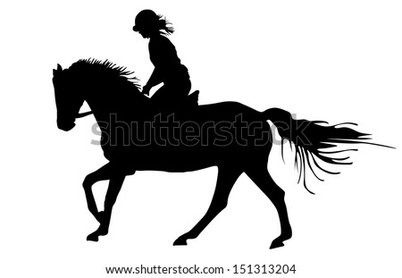 Prance horse black silhouette, vector illustration isolated on white background.Beautiful girl polo player in horse race.  - stock vector