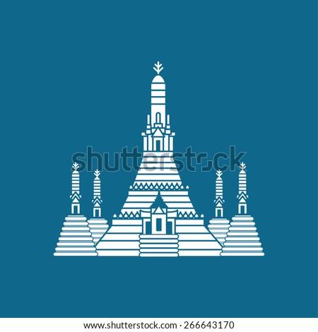 Prang of Wat Arun, Bangkok ,Thailand - stock vector