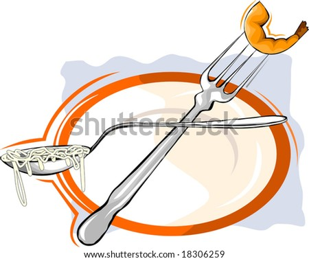 prawns in a fork in the plate - stock vector