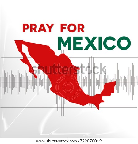 Pray Mexico Symbol Humanity Earthquake Natural Stock Vector
