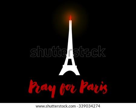 Pray for Paris Sympathy - stock vector