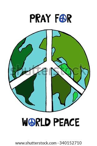Pray World Peace Vector Illustration Stock Vector Hd Royalty Free