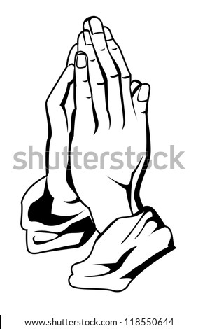 prayer hand - stock vector
