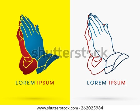 Prayer hand, designed using  red and blue colors, mean stop war, peace ,sign, logo, symbol, icon, graphic, vector. - stock vector