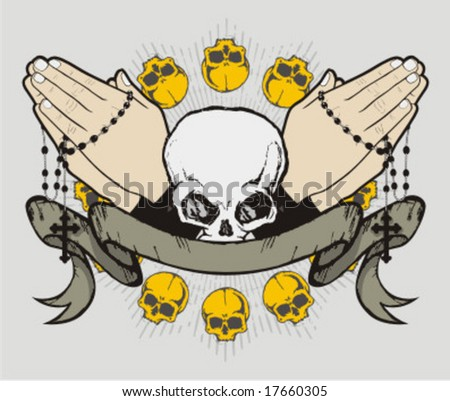 prayer skull - stock vector