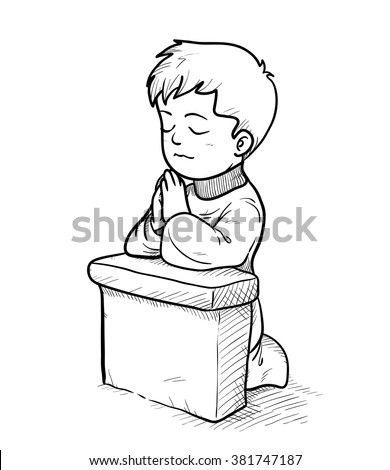 praying doodle a hand drawn vector doodle illustration of a praying little kid