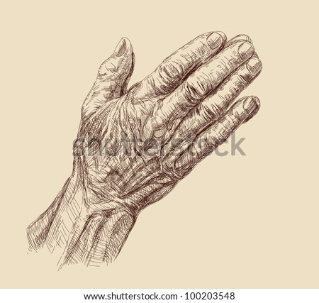 Praying Hands drawing vector illustration - stock vector