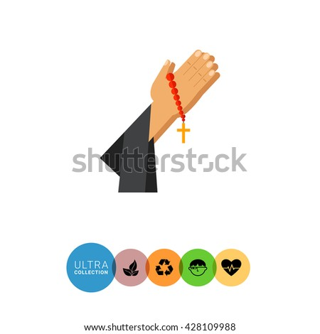 Praying hands with beads flat icon - stock vector