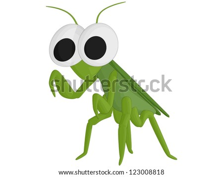 Praying Mantis (vector, isolated on white background)