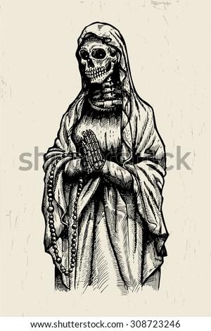 praying skeleton stock vector 308723246 shutterstock. Black Bedroom Furniture Sets. Home Design Ideas