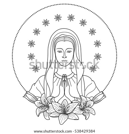 Praying Virgin Mary With Stars And Lilies Outline Cartoon On White Background Black