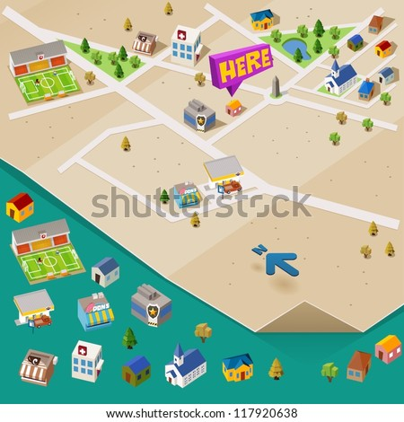 Pre assembled isometric map. Vector Illustration - stock vector