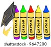 pre school graduation - cap hanging from crayons - vector - stock vector