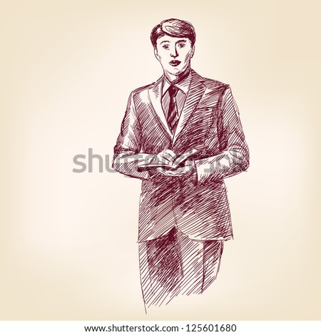 preacher with bible in hand - vintage hand drawn vector illustration - stock vector