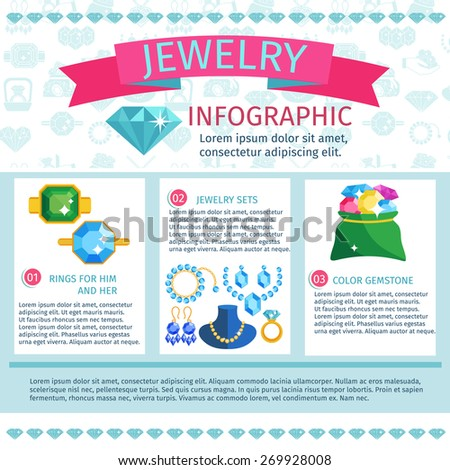 Precious jewels infographics with fashion jewelry gems and accessories set vector illustration - stock vector