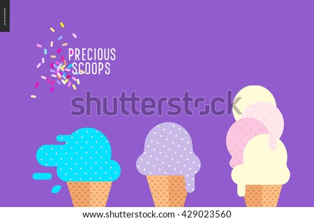 Precious scoops on purple - vector flat cartoon illustration of lilac, light violet, bilberry, mint, pink, yellow ice cream scoops in waffle cups, sprinkles on purple background