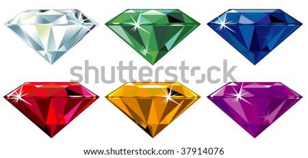 Precious stones with sparkle - stock vector