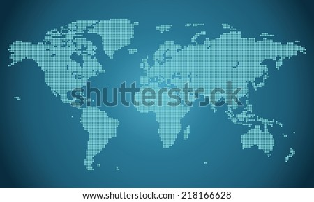 Precise world map performed with circles illustration vector - stock vector