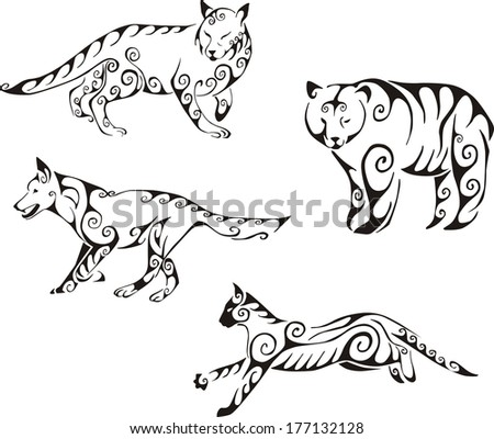 Predator animals in tribal style. Set of black and white vector illustrations. Tattoos. - stock vector