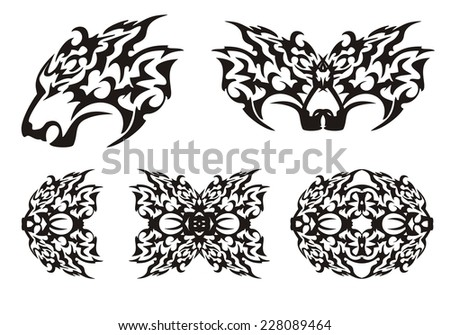 Predator head and elements in tribal style - stock vector