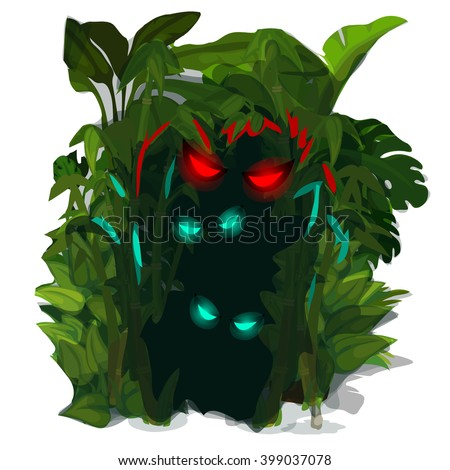 Predators eyes glow from the bushes of tropical plants. Vector illustration. - stock vector