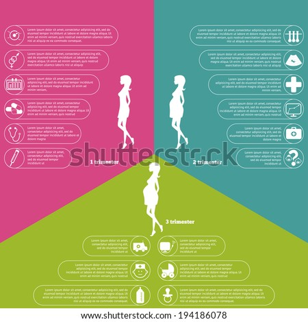 Pregnancy and birth infographics and pregnancy stages and icon set. - stock vector