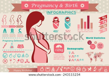 pregnancy and birth infographics, presentation template and icons set - stock vector